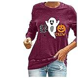 TTWOMEN Tee Shirt Femme, Impression Col V Manche Longue Chic, Automne et Hiver Ample Tee Shirts Manche Longue (Rouge3, S)