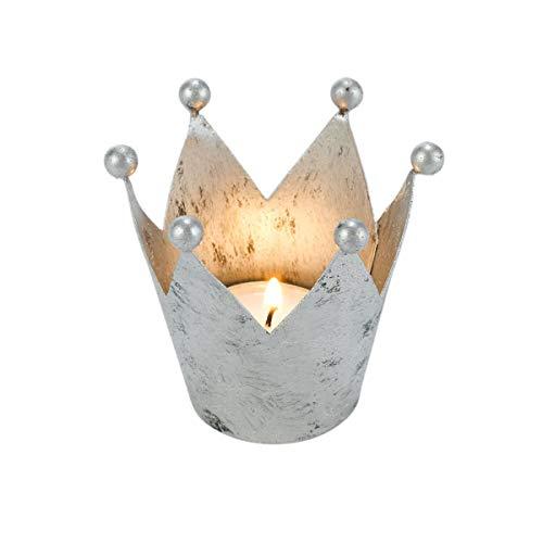 Pureday Teelichthalter Krone - 4er Set - Metall - Silber - ca. 8 Ø x Höhe 7 cm