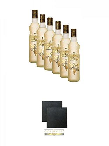 Tekirdag Gold Raki Türkei 6 x 0,7 Liter + Schiefer Glasuntersetzer eckig ca. 9,5 cm Ø 2 Stück