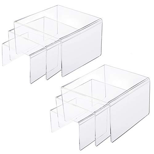 Clear Cupcake Stand 2 Pack 12 x 6.9 x 4.25 BYCY 2-Tier Clear Acrylic Display Stand Display Shelf for Dessert Jewels Figurines