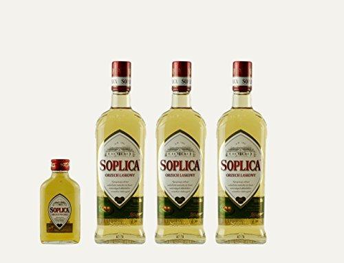 3x Soplica Haselnuss + 1x kostenfrei Soplica Walnuss in der Probiergröße (32%, 0,1 Liter) | Polnischer Haselnusswodka/-likör | je 32%, 0,5 Liter