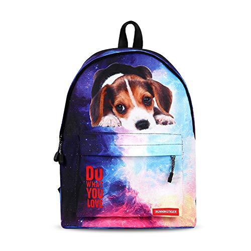 FANDARE Schulrucksack Galaxy Schultasche Junge Mädchen Rucksäcke Schulranzen Teenager Tagesrucksack Reise Daypack Damen 14 Zoll Laptop-Tasche Kinderrucksäcke Wasserdicht Polyester Hund