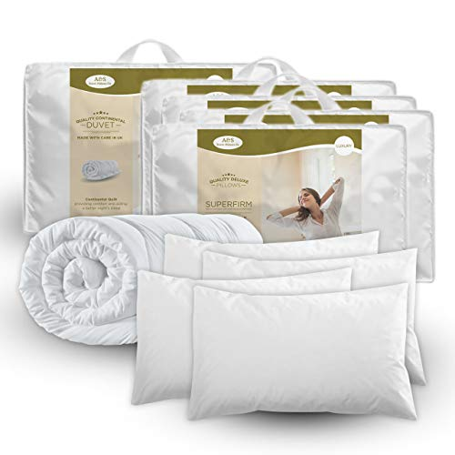KING SIZE DUVET & 4 DELUXE PILLOWS - KING 13.5 TOG QUILT & 4 SUPERFIRM PILLOWS