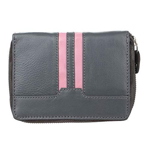 STARHIDE Portafoglio frizione per le donne in vera pelle RFID blocco titolare della carta 5600 grigio/rosa