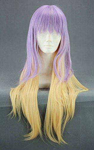 JapanAttitude Perruque Longue Violette et Blonde Jaune 80cm, Cosplay Byakyren Hijiri