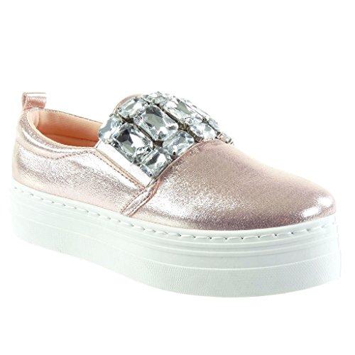 Angkorly - Damen Schuhe Sneaker - Plateauschuhe - Schmuck - Strass - glänzende Flache Ferse 4 cm - Rosa HX-005 T 37