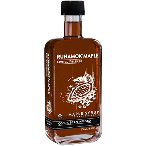 Runamok Maple Cocoa Infused Maple Syrup - Authentic & Real Vermont Maple Syrup | Nature's Best Sweetener | Beverages, French Toast, Pancakes Maple Syrup | 8.45 Fl Oz (250mL)