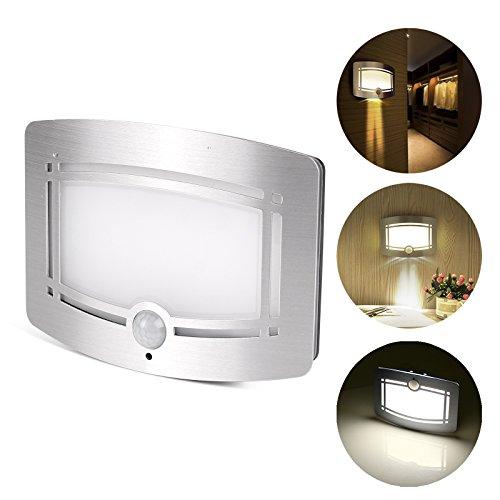 Luce LED da Muro, LemonBest® Lampada LED con Sensore di Movimento a Batterie Montata a Parete per Uso Notturno, Auto on/off
