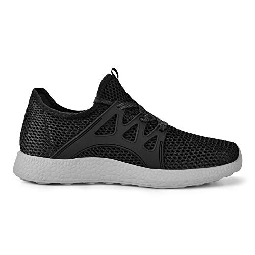 Feetmat Womens Sneakers Ultra Lightweight Breathable Mesh Athletic Walking Running Shoes Black/Grey 6