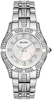 Bulova Women 's reloj con cara de madre de perla y vidrio de acero inoxidable