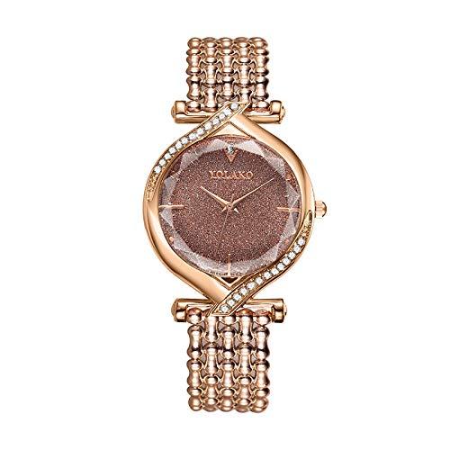 Powzz ornament Reloj de pulsera para mujer Creative Diamond Barrel Dial Roman Literal Quartz Casual Watch Oro Rosa