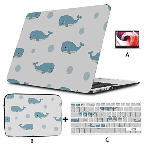 Mac Air Case Blue Whale Ocean Beauty 13 Macbook Air Case Hard Shell Mac Air 11'/13' Pro 13'/15'/16' With Notebook Sleeve Bag For Macbook 2008-2020 Version