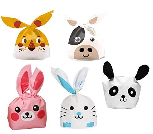 Tangger Sacchetti Compleanno, 50 PCS Sacchetti di Caramella Borsa Sacchetti di Biscotti a Forma di Coniglio per Partito Nozze Regalo Sacchetto