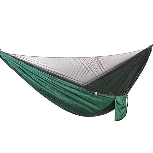 FENGSZ 290 * 140Cm Outdoor Hammock With Mosquito Net,Load Capacity Up To 200Kg,For Outdoor,Yard, Camping,Beach And Patio,Blackishgreen