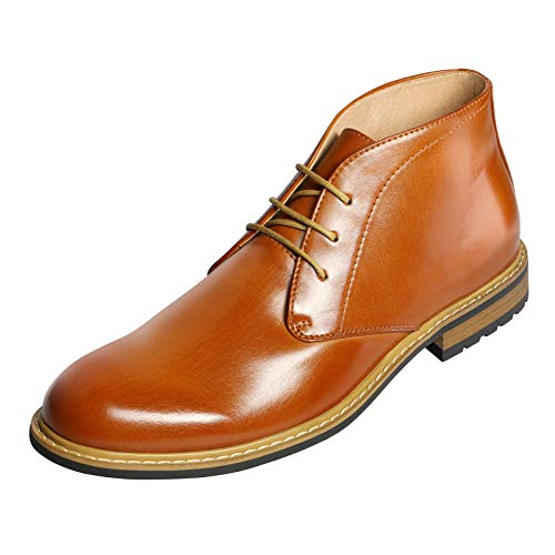 Bruno MARC BERGEN-02 Men's Formal Modern Lace Up Leather Lined Short Ankle Oxford Dress Boots BROWN SIZE 9.5