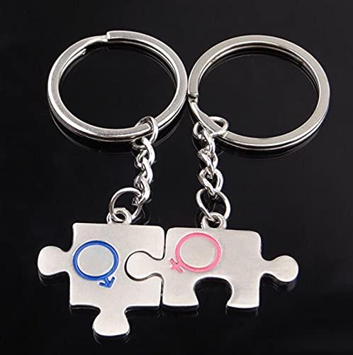 Portachiavi 2 PZ Popolare Puzzle Lover Catena Key Donne Uomo Coppie Romantico Metallo Portachiavi Auto Portachiavi per Valentine's Day Regalo (Color : 1, Size : M)