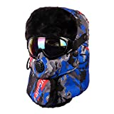 INDINGLY Trapper Hat with Goggles Winter Ski Hat Winter Warm Hat Ear Flaps Windproof Waterproof Faux Fur Hat Unisex (Camouflage-Blue)