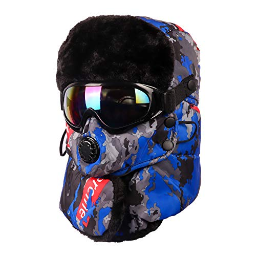 Trapper Trooper Hat with Ski Goggle for Men Women,Winter Ski Hat with Winter Ear Flap and Ski Windproof Mask (Camouflage Blue)