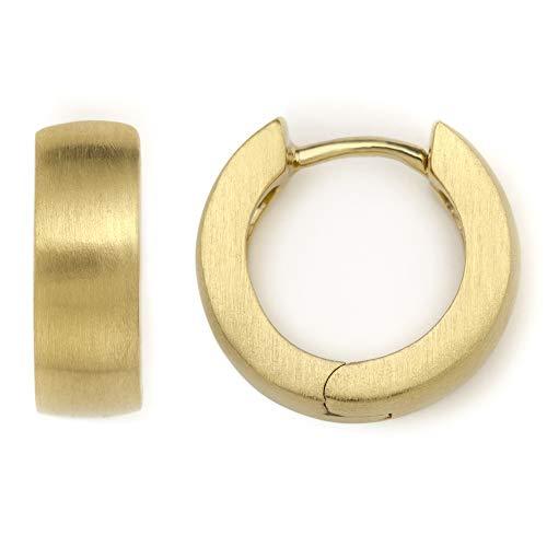Heideman Ohrringe Damen Creole M aus Edelstahl gold farbend matt Ohrstecker für Frauen Kreole Creolen mit Clip Mechanik runde Form