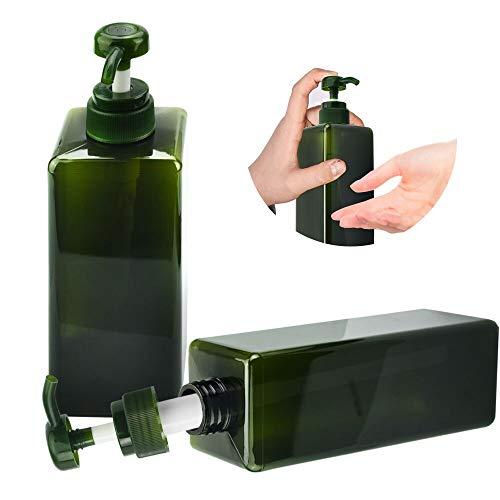 AFASOES 2 Stück Pumpspender 650ml Seife Flaschen Seifenspender Leerflasche Lotionspender Kunststoff Flüssigseifen Spender Flasche für Lotion Küche Bad Duschgel Shampoo Handseife Grün (68 * 195mm)