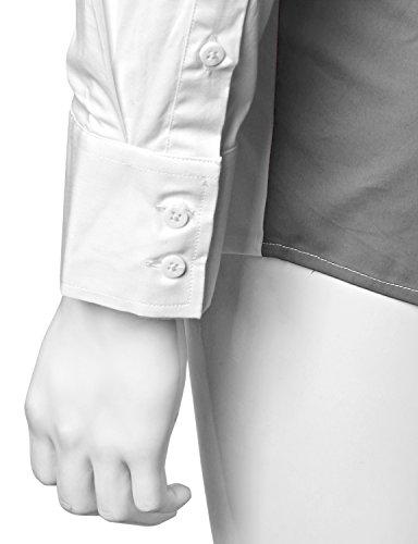 Doublju Men Trendy Long Sleeve Color Detail Slim Dress Shirts Whitecharcoal XXX-Large