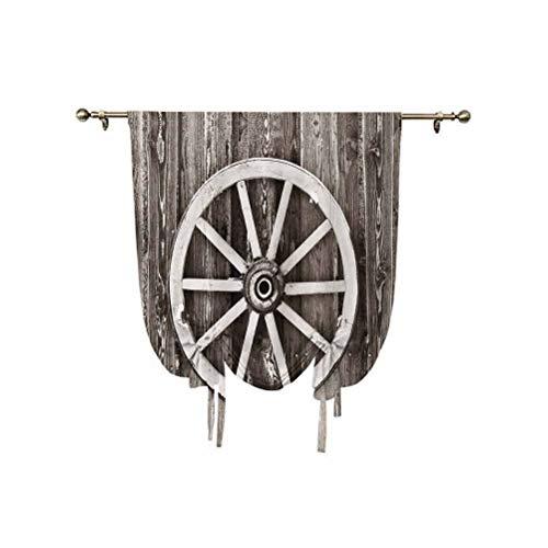 Cortina de madera para ventana pequeña, rueda retro en pared, granero, casa de pueblo, carro, circular, ajustable, 39 x 63 pulgadas, para ventana pequeña/cocina, color marrón oscuro y blanco