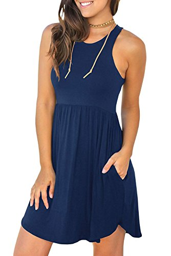 VIISHOW Women Sleeveless Pockets Pleated Loose Swing Cover Ups Casual Short T Shirt Dresses Sleeveless Navy Blue XL