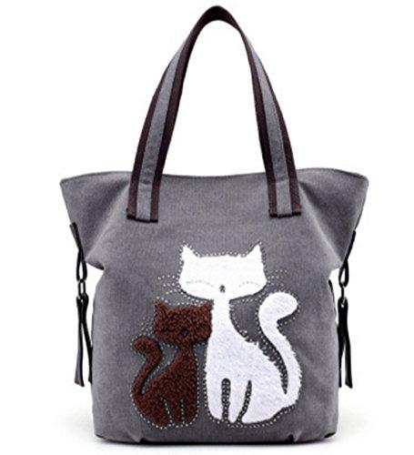 CLOCOLOR Mujer Bolsa de Mano Lona con Estampado de Gatos Bol