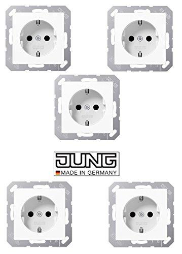 5x Jung A1520WW SCHUKO Steckdose Serie A/AS Alpinweiß glänzend