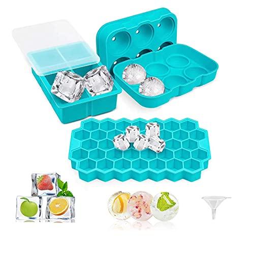 Miamasvin Eiswürfelform, 3 Stück Silikon Eiswürfel Form Mit Deckel Eiswuerfelbehaelter, LFGB Zertifiziert, BPA Frei Eiswürfelform, für Whisky, Bier, Cocktails, Saft, Schokolade