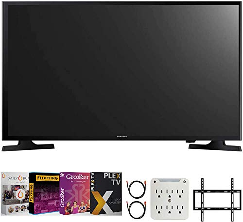 """SAMSUNG UN32M4500B 32""""-Class HD Smart LED TV (2018 Model) Bundle with Premiere Movies Streaming 2020 + 19-45 inch TV Flat Wall Mount + 2X 6FT 4K HDMI 2.0 Cable + 6-Outlet Surge Adapter"""