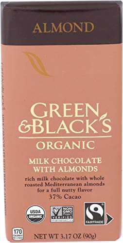 GREEN & BLACK'S Organic Almond Milk Chocolate Bar, 34% Cacao, 1 Bar (3.17 oz.)