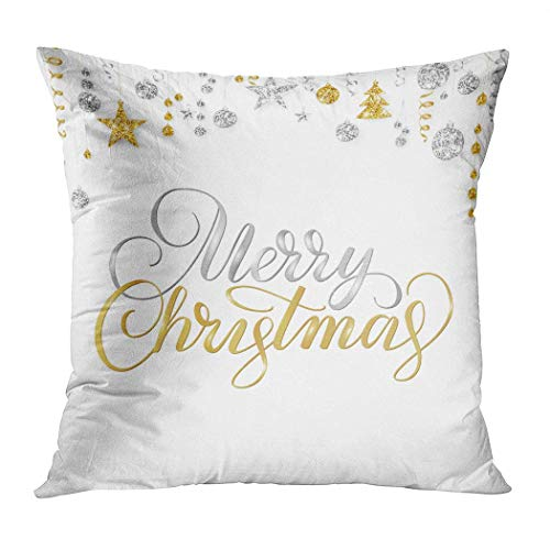 Pamela Hill Throw Pillow Decor Square 20 x 20 Inch Merry Christmas Card Hand White Holiday Bolas de Oro para Carteles Funda de cojín Decorativa de Invierno