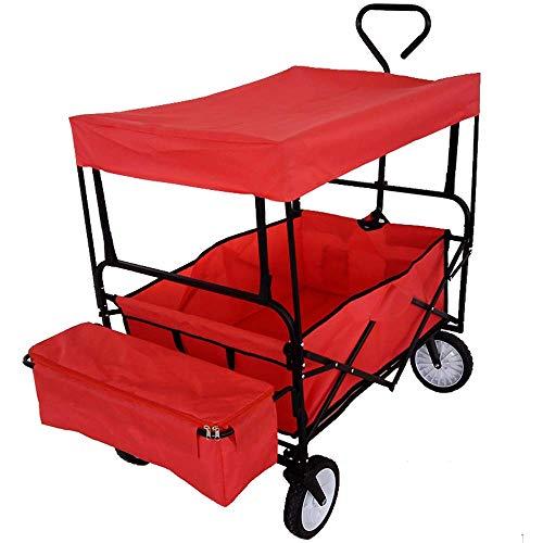 YEESEU. & GYT Faltbare und praktische schwere Wagen - Tragbare Transportwagen Anhänger mit abnehmbarem Dach - 70kg maximale Last Shopping Festival Camping Garten