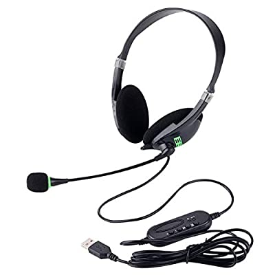 Fengstore USB Headset, Microphone Noise Cancelling & Audio Controls, Stereo PC Headphone for Business Skype UC Softphone Call Center Office Computer, Clearer Voice, Super Light, Ultra Comfort from Fengstore