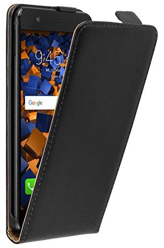 mumbi Echt Leder Flip Hülle kompatibel mit Huawei P10 Hülle Leder Tasche Hülle Wallet, schwarz