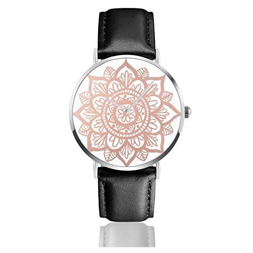 Nuevo oro rosa mandala botón clásico casual moda cuarzo reloj acero inoxidable correa de cuero relojes
