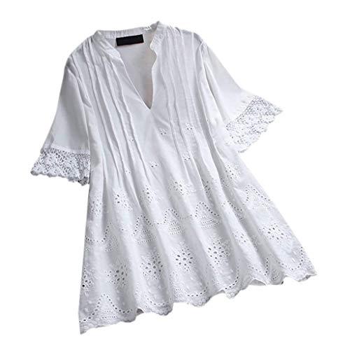 VEMOW Blusa Mujer Encaje Color sólido Cuello en V Manga Corta Camiseta Casual Tops(Blanco,M)