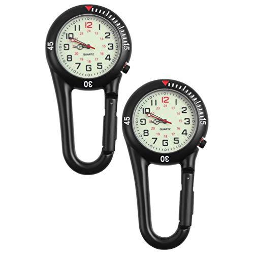 BESPORTBLE 2 Stück Quarz-Uhr mit fluoreszierendem Zifferblatt für Rucksack-Gürtel, Taschenuhr, Karabiner-Clip, Uhren zum Wandern oder Klettern