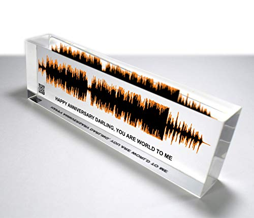 OOCLAS Sound Wave Gift, Custom Soundwave, Acrylic Sound Wave Art, Customize Any Personalized Recording or Song On Acrylic Block Size (8 X 2.50 x 1.25 Inches)