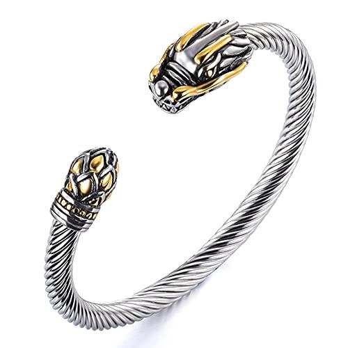 WDBAYXH Pulsera Brazalete Trenzado Cable de Cabeza a Cola de Dragón para Hombre, Inspirado en el Diseñador Acero Inoxidable Ouroboros Oro Mixto/Plata, Joyas Ajustables Abiertas Biker Punk,Mixed Gold