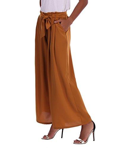 Abollria Damen Weite Hose Chiffon Paperbag Hose Casual Hosen Weite Bein Hohe Taille mit breiter Gummibund und Gürtel - 3