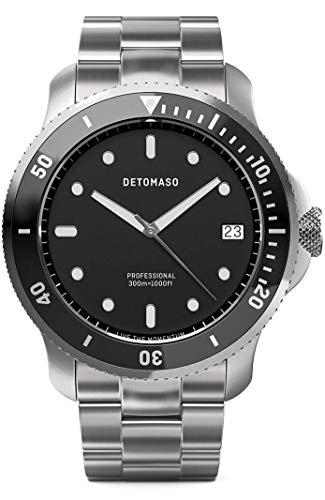 DETOMASO SAN REMO Diver Silver Black Herren-Armbanduhr Analog Quarz Edelstahl-Uhrenarmband Silber