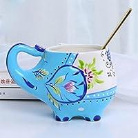 手描きの象のティーポットとカップセットセラミック磁器ケトル茶器具カップのコーヒーカップギフト-スカイブルーティーカップ