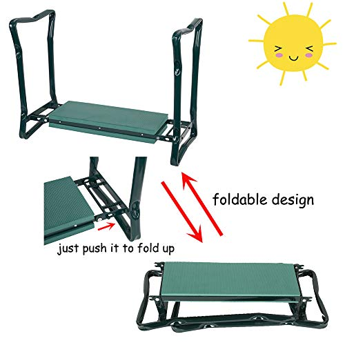 Livebest Folding Garden Kneeler Seat Portable Bench Stool with Soft Kneeling Foam Pad and Tool Pouch for Gardening,Fishing