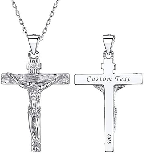 HUIQ Nombre Personalizado Mens Silver Cross Collar Sólido 925 Sterling Silla INRI Crucifix JESÚS Pendientes EN Cadena