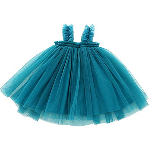 Vestido Tutú Sin Mangas para Bebé, de Tul, Talla 9 a 36 Meses (Blue, 120)