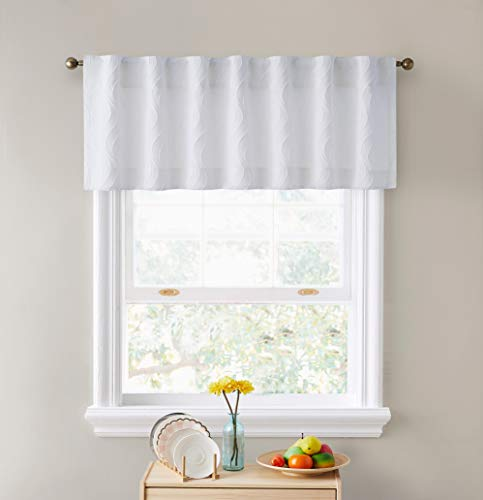 HLC.ME Camden Double Layer Thermal Insulated Blackout Decorative Back Tab Tailored Curtain Valance Topper for Kitchen, Bathroom, Basement and Small Windows - 50 W x 18 L, White