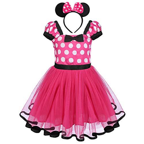 OwlFay Baby Kinder Mädchen Kostüme Polka Dots Tutu Prinzessin Kleid Karneval Halloween Weihnachten Faschingskostüm Geburtstag Partykleid Cosplay Verkleidung Outfits mit Maus Ohren Haarreif 12-18M