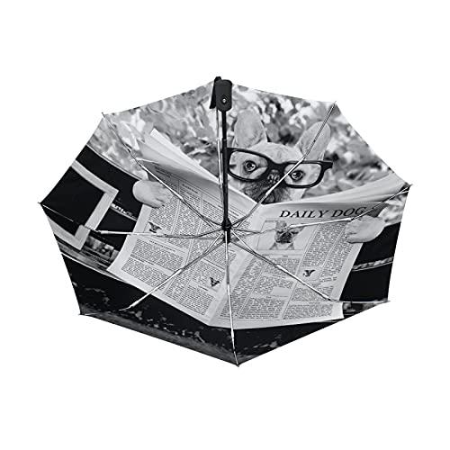 Oyihfvs French Bulldog Reading Newspaper Auto Open/Close Folding Umbrella, Strong Inner Print Travel Rain Umbrella, Portable Automatic Compact Sun Parasol with UV Protection
